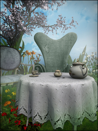 garden chair: Table and chair under a cherry tree