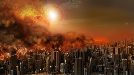apocalyptic: Firestorm over the city Stock Photo