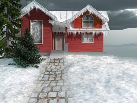 snowy hill: Snowy red house on the hill