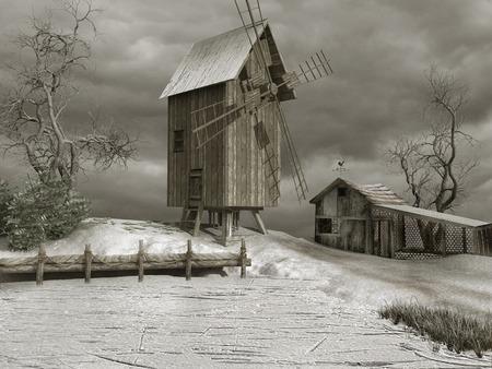 windmill: Windmill in snowy winter Stock Photo