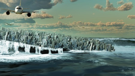 City drowning in the ocean