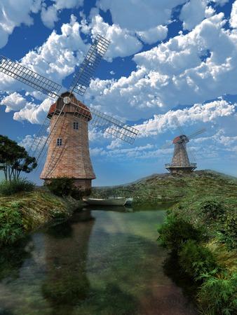 windmills: Two windmills on the river
