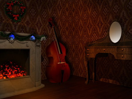 double bass: Room with fireplace and double bass Stock Photo