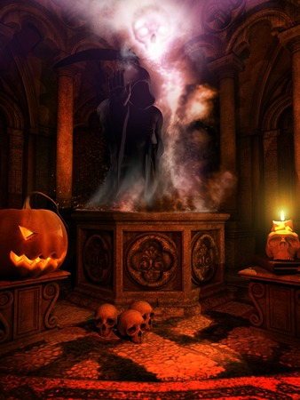 jack o   lantern: Temple with Jack o Lantern and skulls