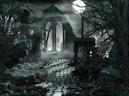 寺院の遺跡の上の満月 写真素材