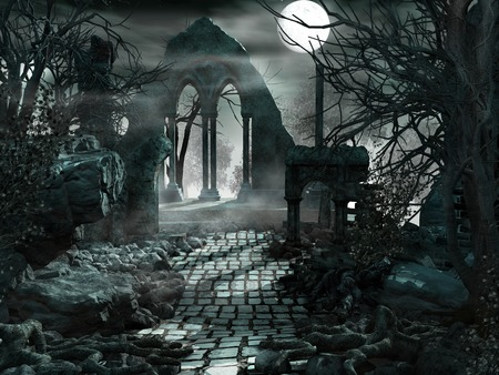 Full moon over the ruins of the temple
