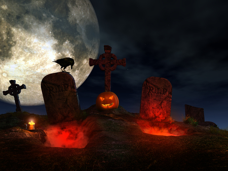 graves: Halloween scene with graves, pumpkin and crow