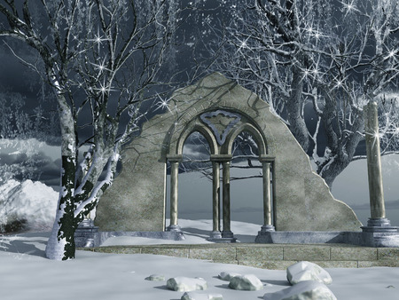 ruin: Snow covered ruins of ancient temple