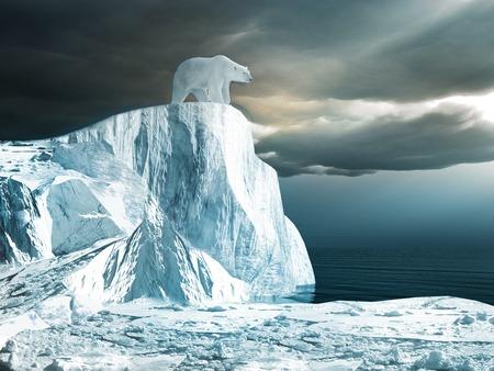 氷山の上にシロクマ