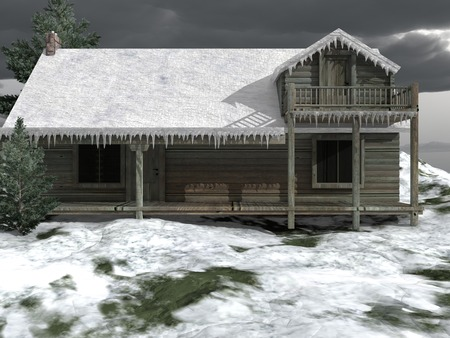 cabin: Snow-covered log cabin