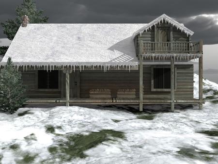 log cabin: Snow-covered log cabin