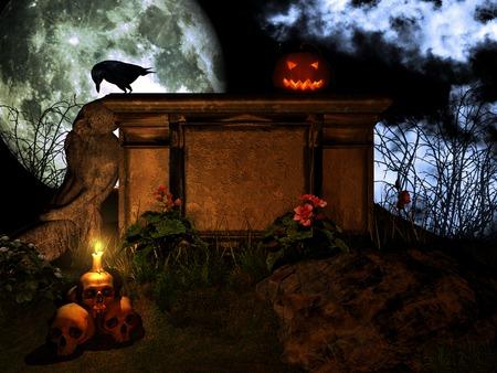 Jack o Lantern on the stone altar