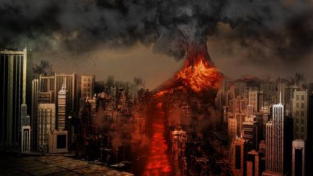 eruption: Volcano eruption near the city
