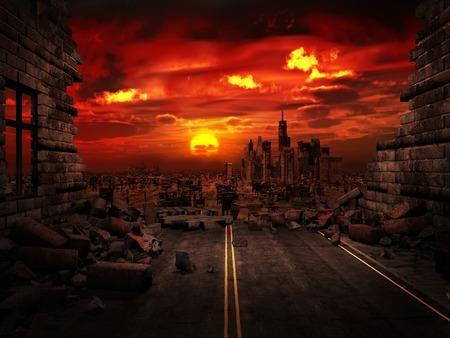 Widok zniszczonego miasta