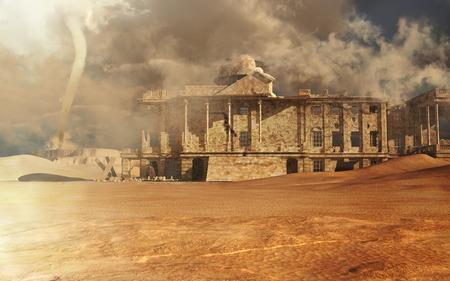 破壊された砂漠の建物 写真素材