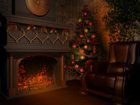 christmas room: Room with fireplace and christmas tree