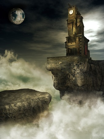 clock tower: Clock tower on the cliff