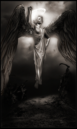 hovering: Dark angel hovering above the ground Stock Photo