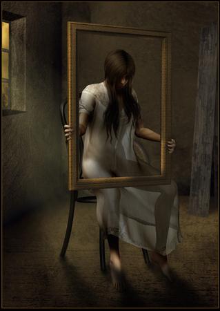 gloomy: Woman in a gloomy room