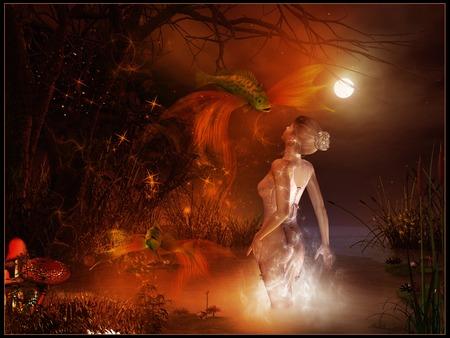 Magic pond night scene