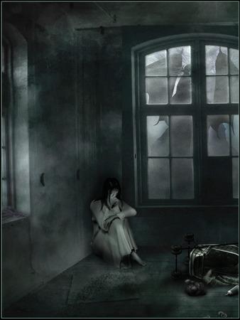 gloomy: Girl in a dark gloomy room Stock Photo