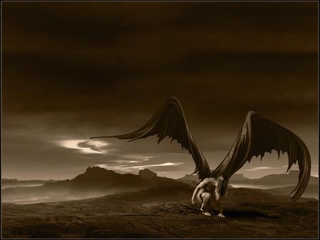 dark angel: Gloomy scene with fallen angel Stock Photo