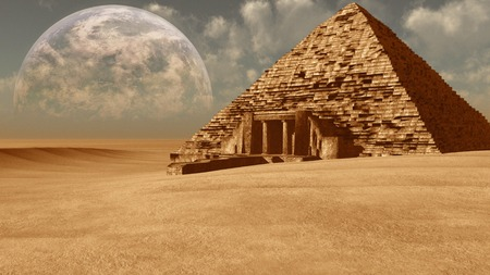 sand dune: Fantasy desert scene with pyramid and planet