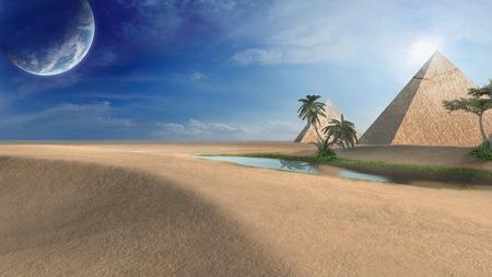 an oasis: Oasis near pyramids