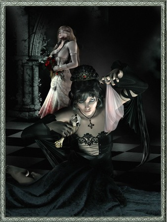 good and evil: Evil and good sorceress Stock Photo