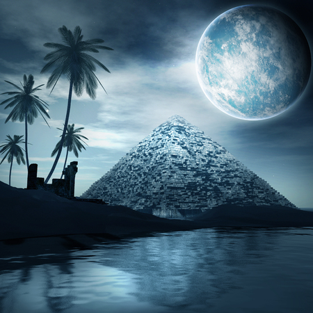 ruin: Night scene with old pyramid, palm trees and planet