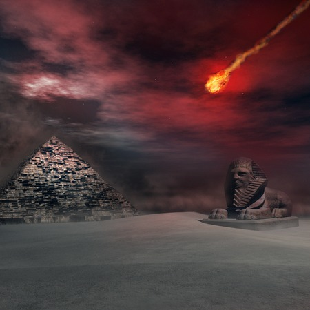 meteor: Desert landscape with pyramid,sphinx and fiery meteor Stock Photo