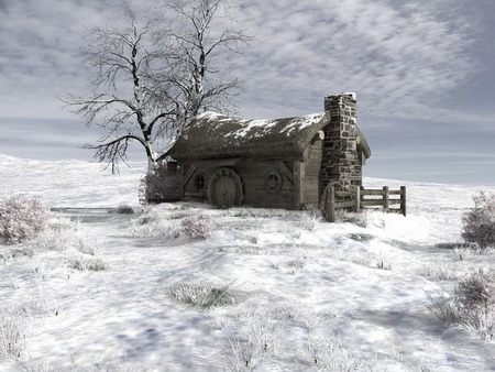winter tree: Winter scenery with old hut and snowy tree Stock Photo