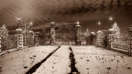 winter garden: Gateway to the winter garden at night Stock Photo
