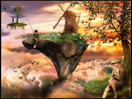 fantasy: Fantasy scenery with flying islands Stock Photo