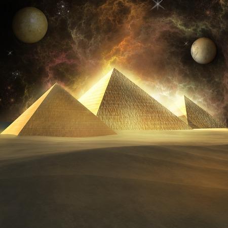 desert storm: Fantasy storm over pyramids Stock Photo