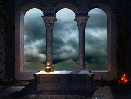 gothic window: Vault with a gothic window and sarcophagus Stock Photo