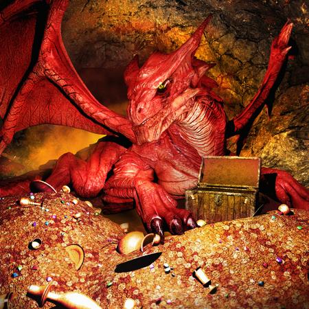 guarding: Red dragon guarding the treasure Stock Photo