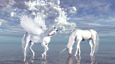 Unicorn and pegasus