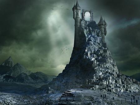 portal: Magical portal on the top of a high mountain