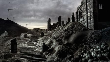 Gallows et les ruines du château