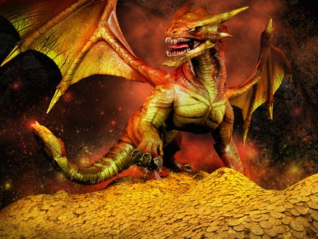 Red dragon on a pile of gold