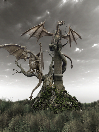 gnarled: Dragons on a gnarled tree Stock Photo