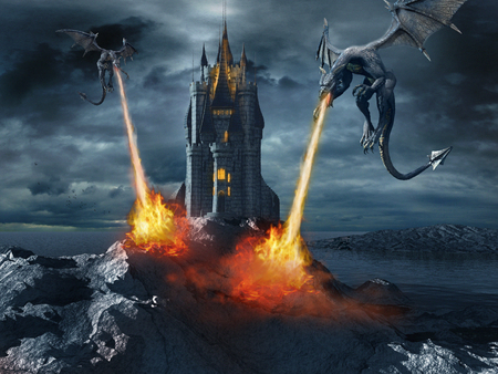 Two dragons attacking the castle