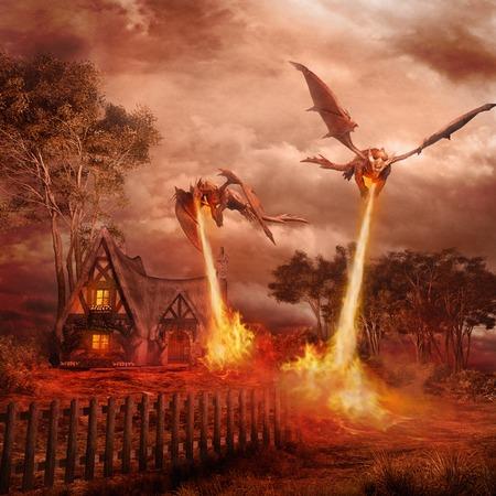 村を攻撃している 2 つの赤龍 写真素材