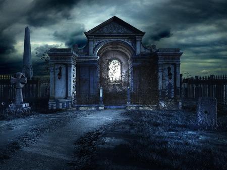 Cemetery crypt at night Foto de archivo