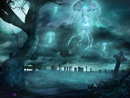 fantasy: Fantasy jellyfish flying over cemetery Stock Photo