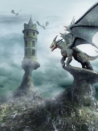 guarded: Tower guarded by dragons
