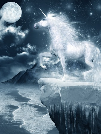 Unicorn standing on the ice-covered cliff