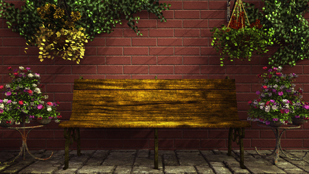 garden wall: Bench among the flowers