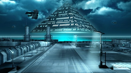 Science fiction scenery with a flying pyramid Stock Photo